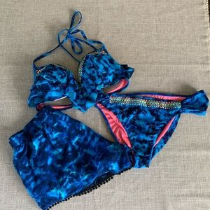 PINK Bikini Set with shorts!!